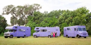 The Purple Trucks mobile pet grooming and washing.